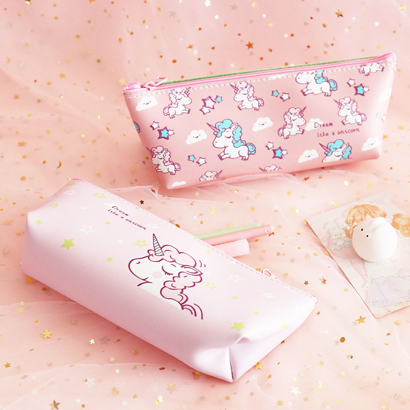 Kawaii Unicorn Leather Pencil Cases Cute Pencil Box Large Pen Case Big Pencil Bags For Boys Korean Stationery School Supplies