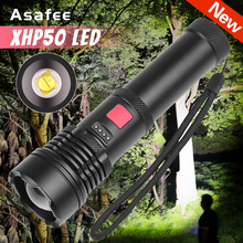 XHP50 LED Flashlight High Power LED Torch Tactical Light Waterproof XHP50 USB Charge Torch Zoom Lantern with Built-in Battery