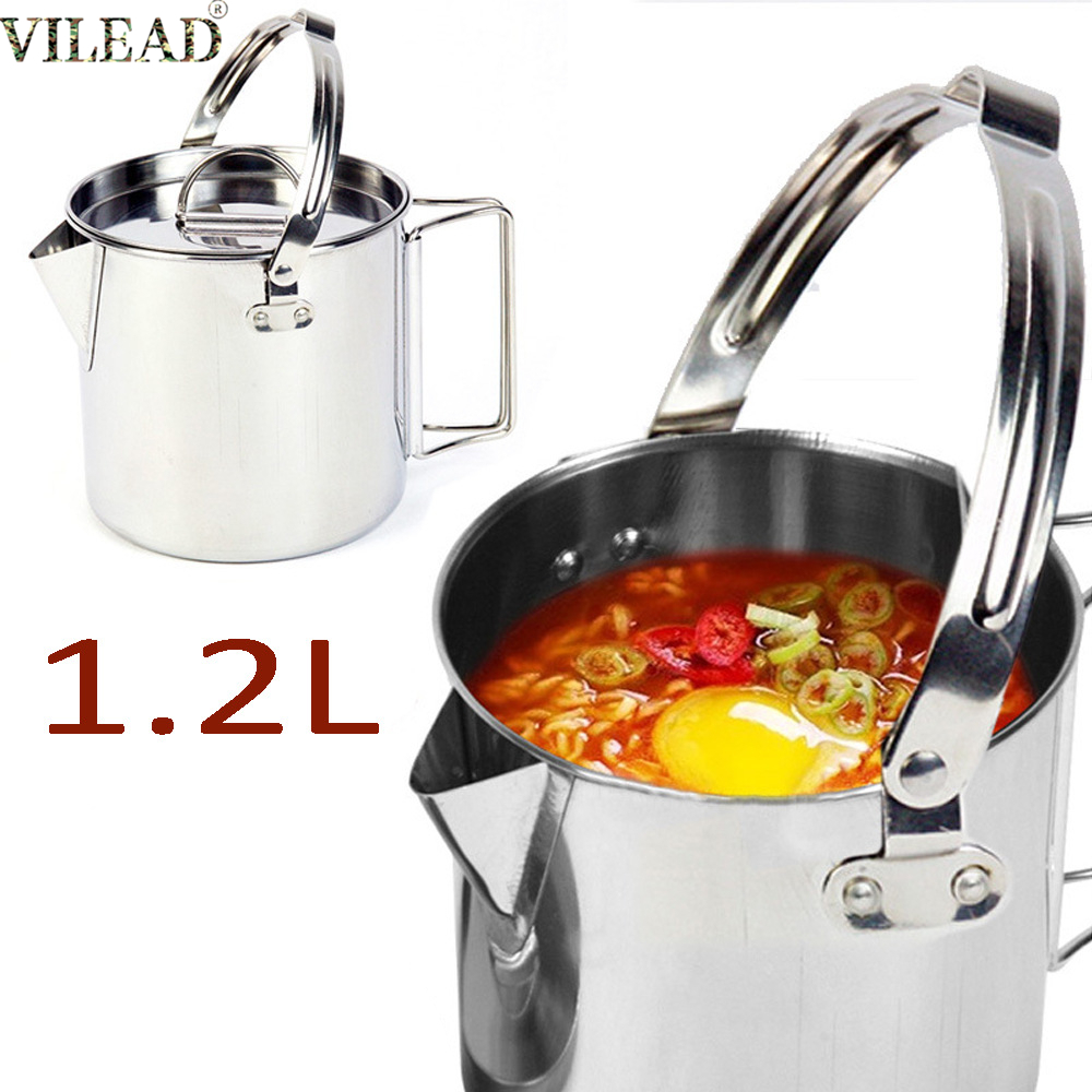 VILEAD Stainless Steel 1.2L Outdoor Cooking Kettle Portable Camping Tableware Kettle BBQ Picnic Hiking Travel Tools Equipment
