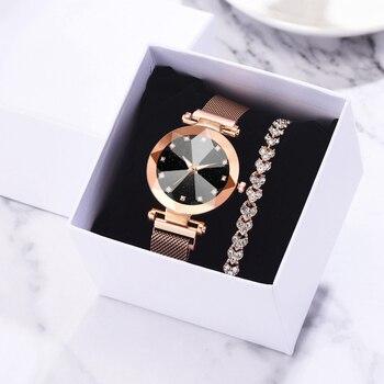 Женские кварцевые часы с золотым браслетом