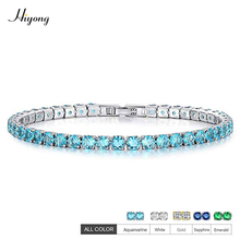 AAA+ Cubic Zirconia Friendship Tennis Bracelet for Women Gold/White/Green/Blue Zircon Crystal Bangle Jewelry Gifts