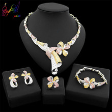 Yulaili Fashion Jewelry Sets Elegant Tri-Color Flower Shape Crystal Choker Necklace Earrings Bracelet Lover's Engagement Ring lace jacquard embellished bracelet with flower shape ring
