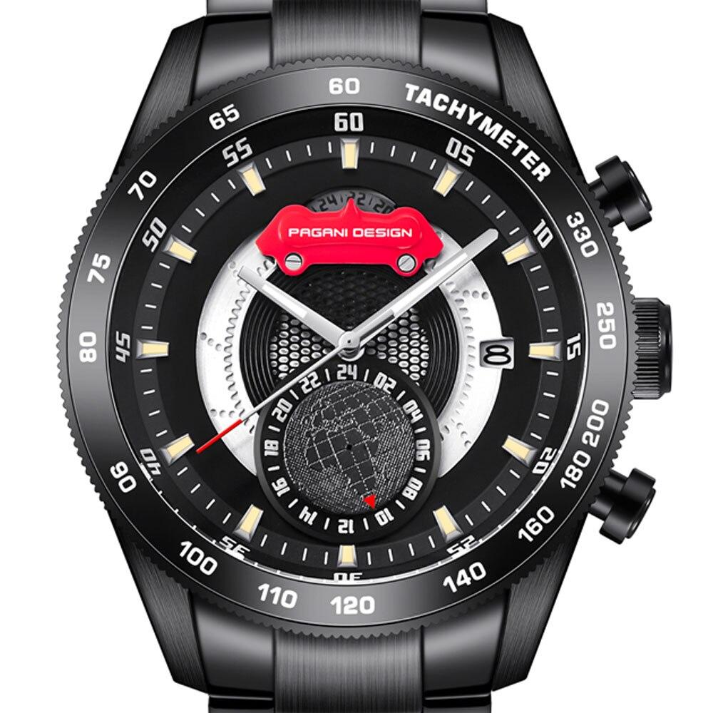 Saatler'ten Kuvars Saatler'de 45 mm lüks marka Pagani tasarım siyah durumda lüks kuvars erkek saatler tarih siyah paslanmaz çelik moda erkek spor saatler title=
