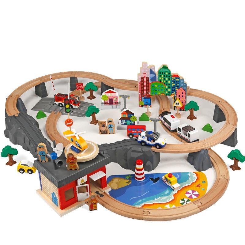 New 92pcs/set Wooden Railway Train Set Stanard Electrionic Train Head Track Toys For Kids Birthday Gift