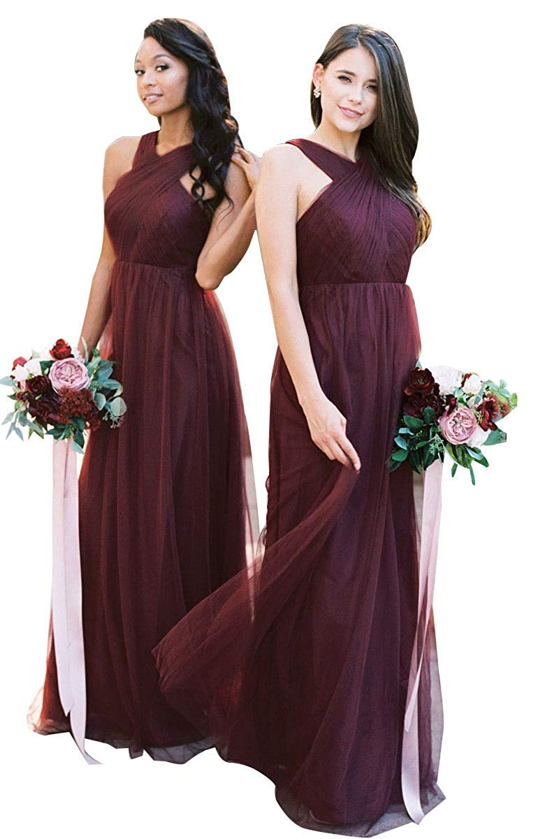 Sexy Design Back Halter Neck   Bridesmaid     Dresses   A-line Tulle Floor Length Women Prom Gown for Wedding Party