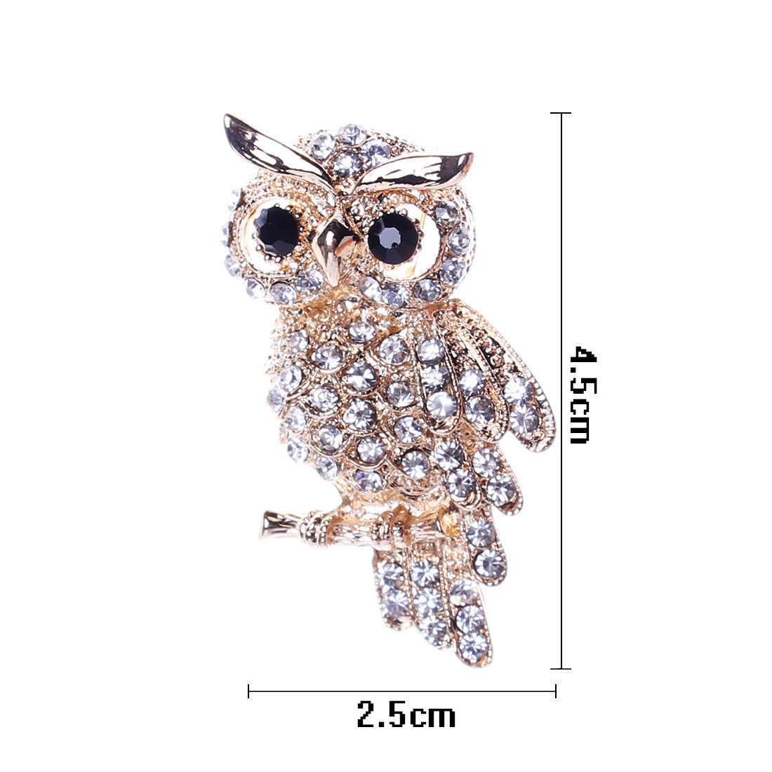 Burung Hantu Bor Kuno Pria dan Wanita Owl Korea Zinc Alloy Trendi Imitasi Berlian Imitasi Biru Bros Lencana Natal Hadiah Aksesoris