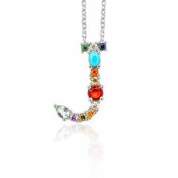 Multicolor Fashion Charm Gold 26 Alphabet Pendant Necklace Micro Pave Zircon Initial Letter Necklaces Couple Name 3