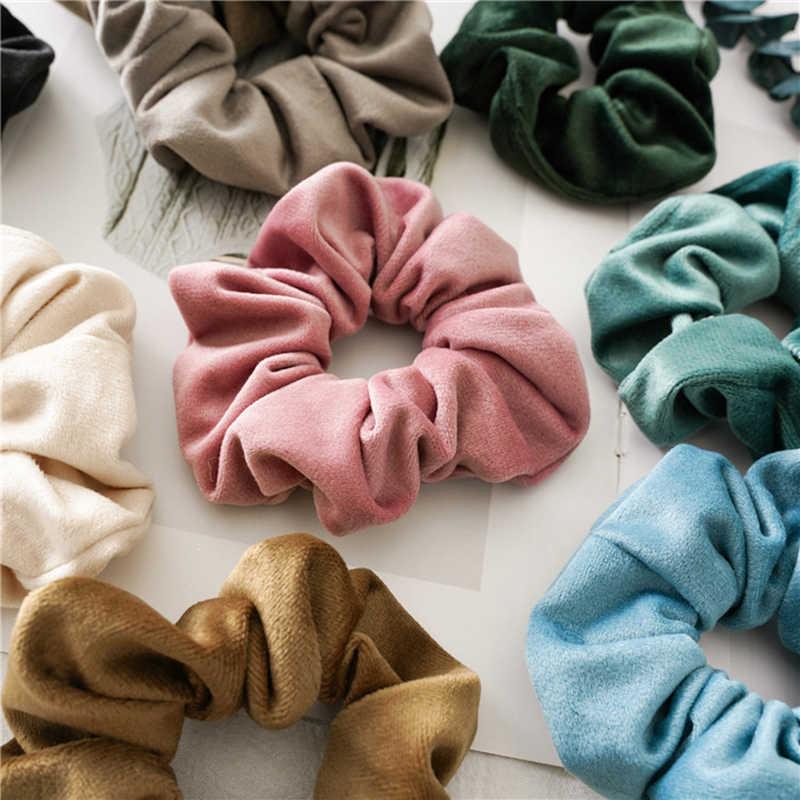2019 חורף רך קטיפה פצפוצי נשים בנות מוצק צבע גומייה מתוק אלסטי שיער להקות קוקו בעל שיער אבזרים