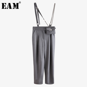 [EAM] High Waist Gray Brief Split Joint Overalls Trousers New Loose Fit Pants Women Fashion Tide Spring Summer 2020 WM22902