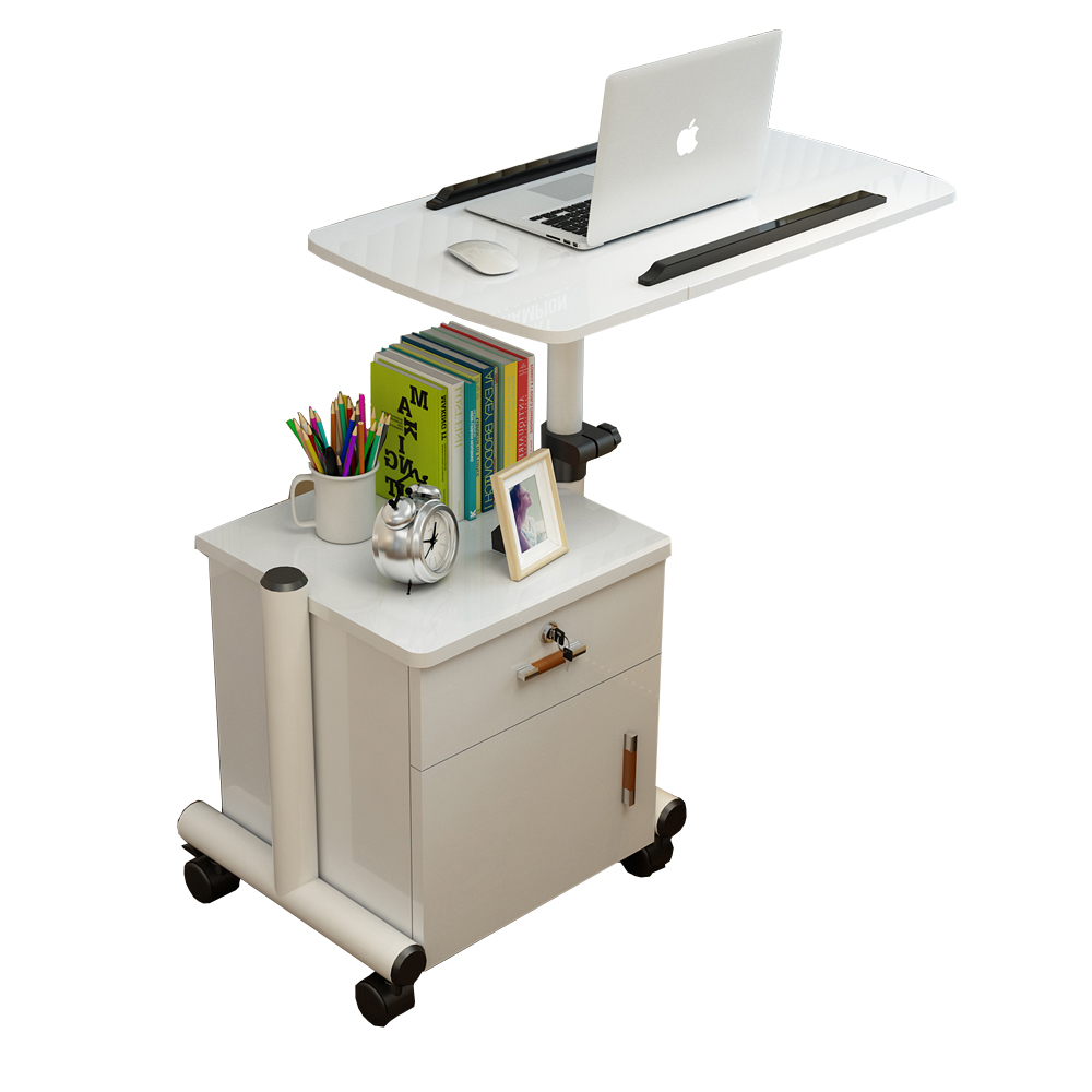 <font><b>Laptop</b></font> Table Movable Bedside Table Lifting Bed Side Table Storage <font><b>Locker</b></font> Side Drawer Cabinet Care Table image
