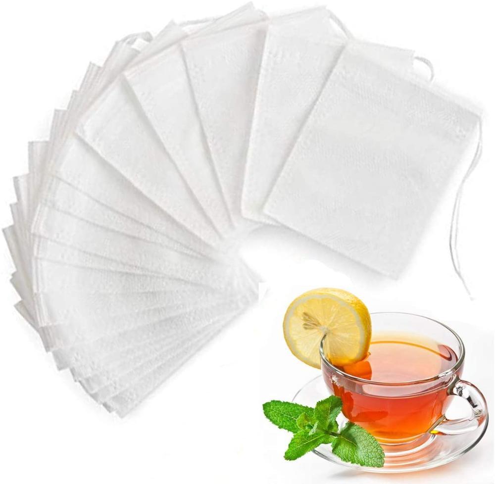100 Pcs Tea Filter Bags Non-woven Fabric Disposable Empty Tea Bags Loose Leaf Tea Infuser teabags Food-Grade Drawstring Tea Bags