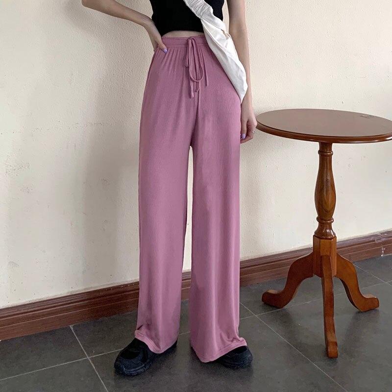 Korean Women High Waist Casual Pants Slim Solid Color Elegant Female Wide Leg Trousers