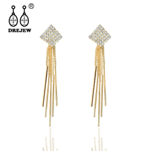 DREJEW Korean Long Tassel Gold Silver Square Rhinestone Statement Earrings Sets 2019 925 Drop for Women Jewelry HE2411