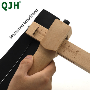 Adjustable Leather Strap Cutter Leather craft Strip Belt DIY Hand Cutting Wooden Strip Cutter With 5 Sharp Blades Leather Tools