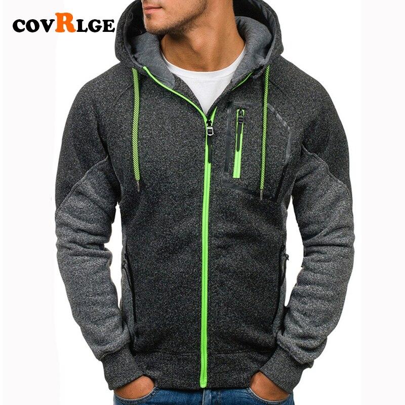 Covrlge Men's Hoodies Patchwork Sweatshirt 2019 New Hot Sale Raglan Hoody Autumn Winter Men's Zipper Sportswear Hoodie MWW180