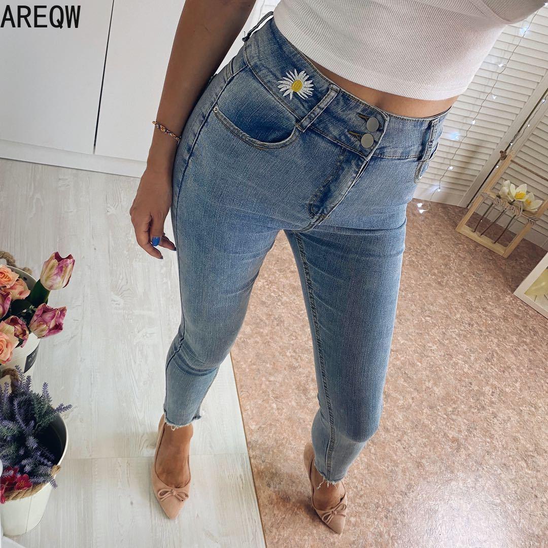 Embroidery Skinny Slim Jeans For Women Vintage Black Jeans Female Denim Pencil Pants Stretch Korean Jean Summer Streetwear