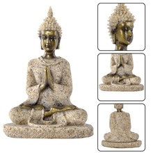 Thai Buddha statue home office decoration resin sandstone crafts sitting sculpture Feng Shui ornaments