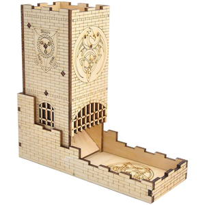 Castle Dice Tower with Tray Wood Laser Cut Dragon Carving Easy Roller Perfect for Board Game, D&D and RPG(China)