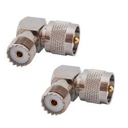 Rf coaxial adaptador coaxial uhf macho pl259 para fêmea so239 ângulo direito conector PL-259 macho para so-239 fêmea 90 graus