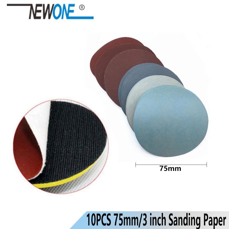 NEWONE 10pcs/set 75mm 3''/3inch Sandpaper Polishing Discs Grit 40~1200 For Polishing Wood Polisher Grinding Phlishing Clearning