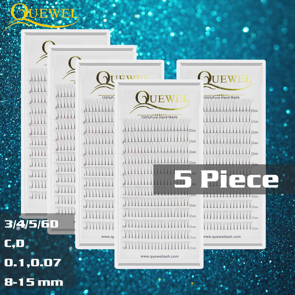 5 Trays Premade Volume Fans Lash Professional Russian Volume Eyelash Extensions Short Stem Lashes Quewel 3D-6D 0.07 mm