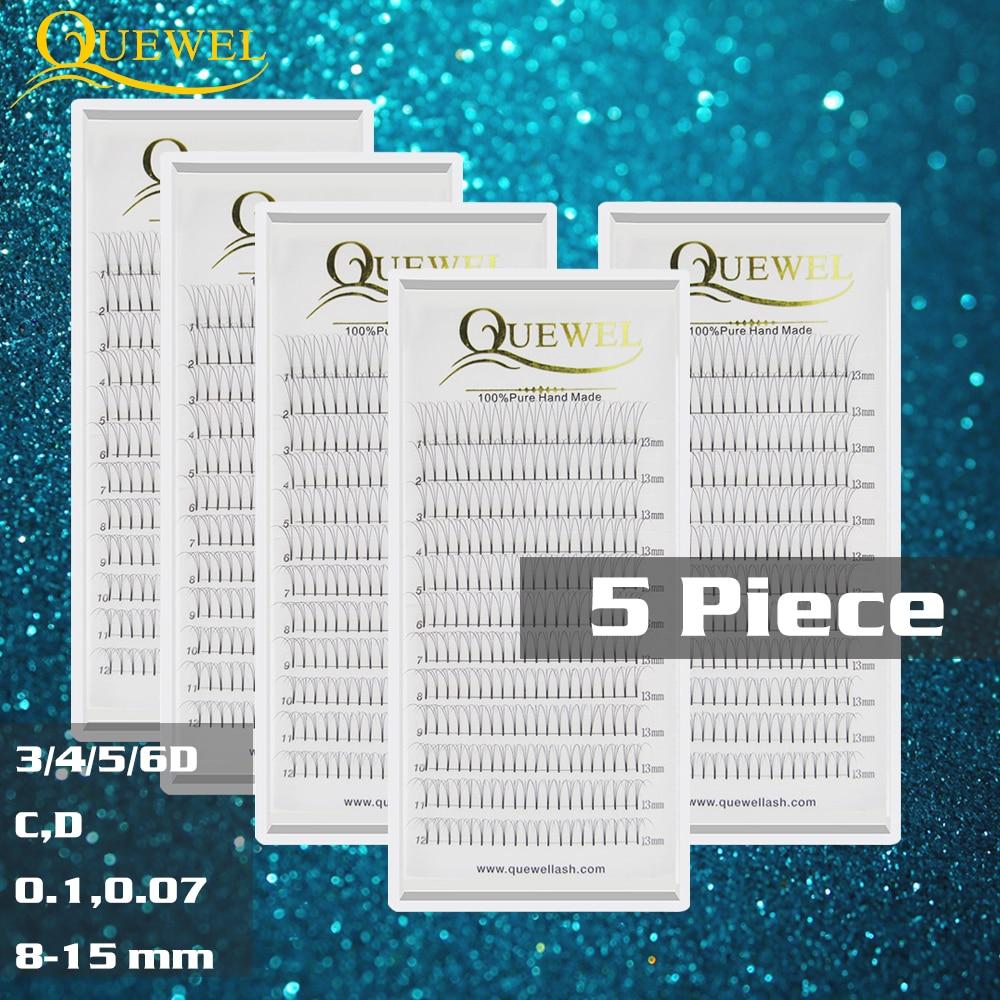 5 Trays Premade Volume Fans Lash Professional Russian Volume Eyelash Extensions Short Stem Lashes Quewel 3D-6D 0.07 Mm