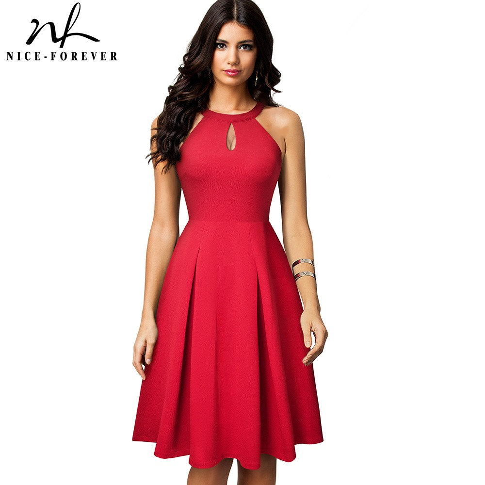 Nice-forever Vintage Casual Pure Color Vestidos With Key Hole A-Line Women Flare Dress A195