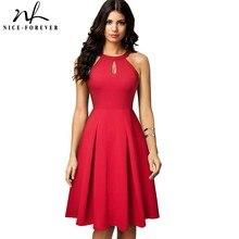 素敵な 永遠にヴィンテージカジュアル純粋な色 vestidos キー穴 A ライン女性フレアドレス A195