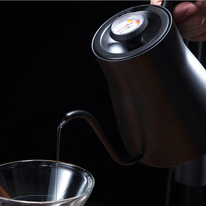 Image 4 - Drip Kettle 850ML Coffee Tea Pot Stainless Steel Teflon Coffee Drip Kettle with Creative Thermometer with wooden handle