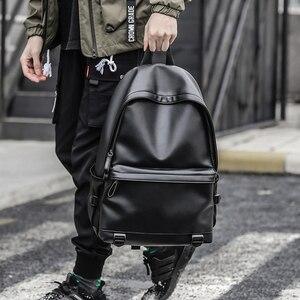 Image 3 - חדש אופנה גברים תרמילי עור שחור תיקי בית ספר לבני נוער מכללת תיק מחשב נייד תרמילי המוצ ילה masculina