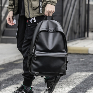 Image 3 - New Fashion Men Leather Backpacks Black School Bags for Teenagers Boys College Book Bag Laptop Backpacks mochila masculina