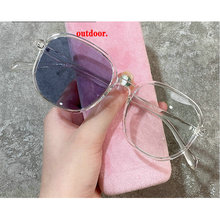 Myopia Sunglasses Frame Lens Pink Photochromic Small Round Women Gray FML Finished