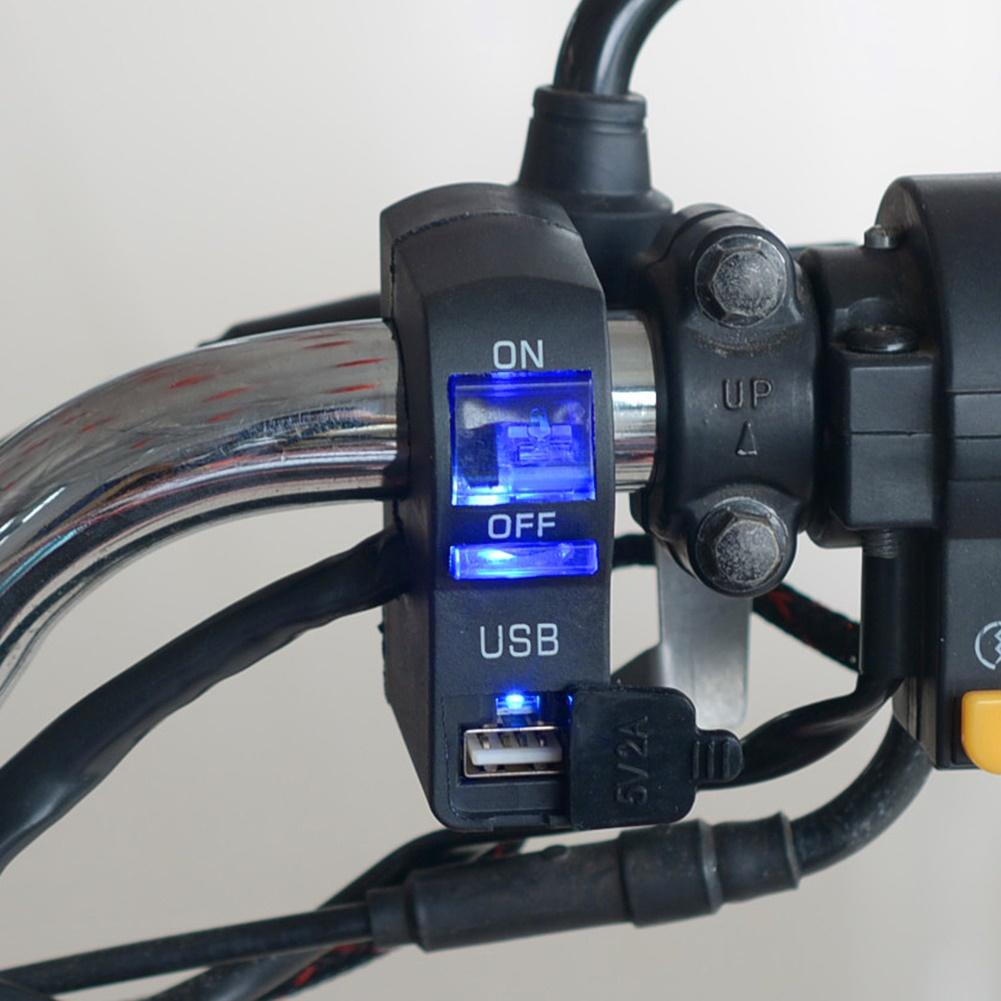 Good Quality 12V LED Indicator Motorcycle Handlebar Mount USB Phone Charger With Switch Suporte Celular Moto