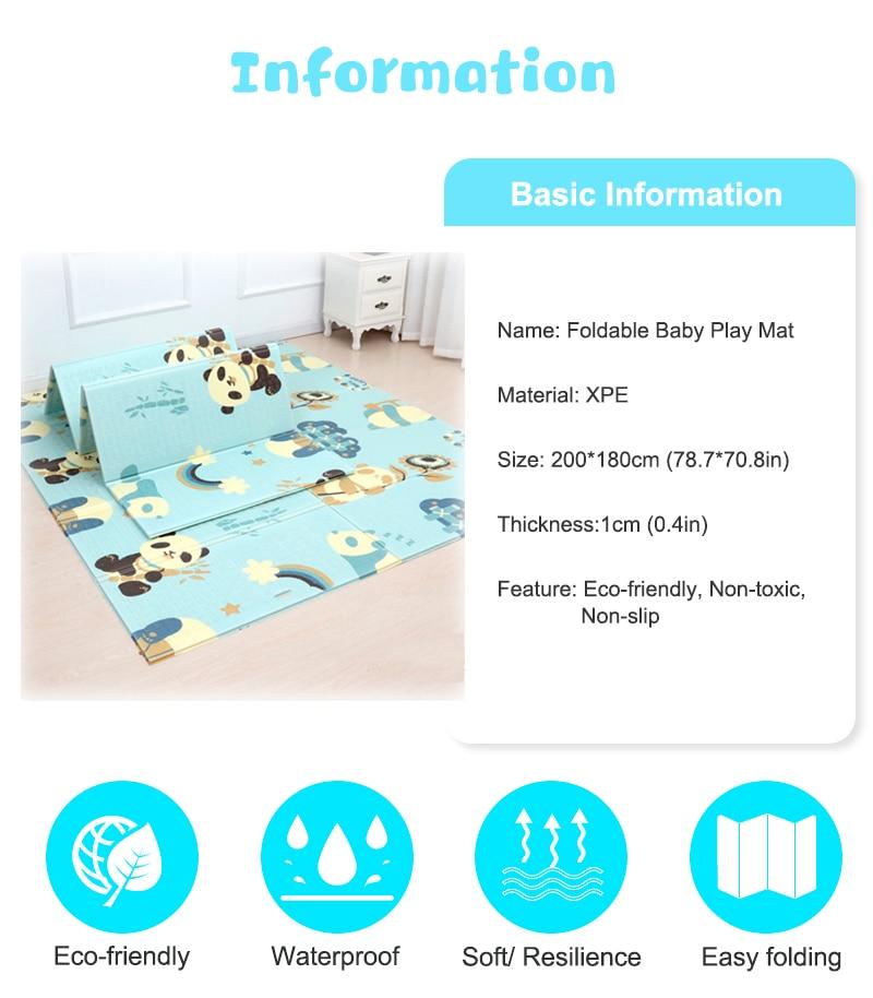 H7526ba22d03b4b6b922849df8375314e0 200*180cm Foldable Cartoon Baby Play Mat Xpe Puzzle Children's Mat Baby Climbing Pad Kids Rug Baby Games Mats