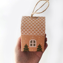 5Pcs Mini House shape Christmas gift box Home decoration with christmas tree Candy Cookie Packing boxes rope 2020 Natal