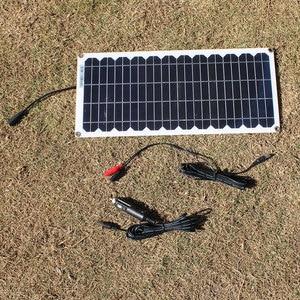 Image 3 - 12V 10w 태양 전지 패널 키트 투명 세미 유연한 Monocrystalline 태양 전지 DIY 모듈 야외 커넥터 DC 12v 충전기