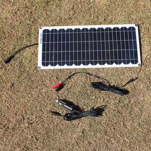 Image 3 - 12V 10w zestaw paneli słonecznych przezroczysty półelastyczny panel solarny monokrystaliczny moduł DIY zewnętrzne złącze DC 12v ładowarka