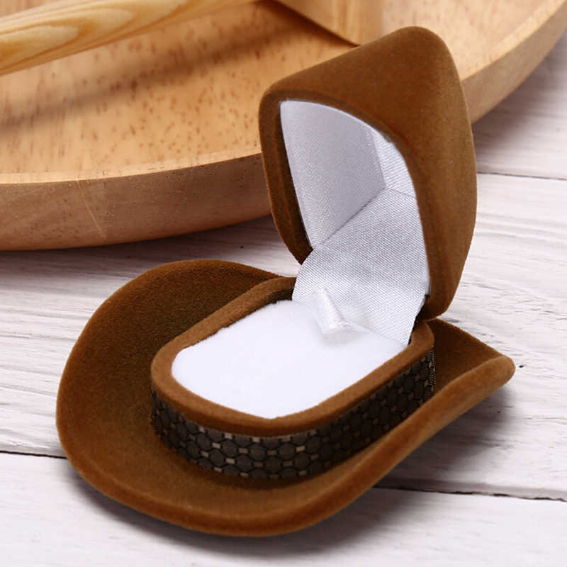 قبعة رعاة البقر شكل خاتم مخملي أقراط مضحك المنظم منصة عرض المجوهرات حامل صندوق مجوهرات لحفل الزفاف الذكرى عيد الحب