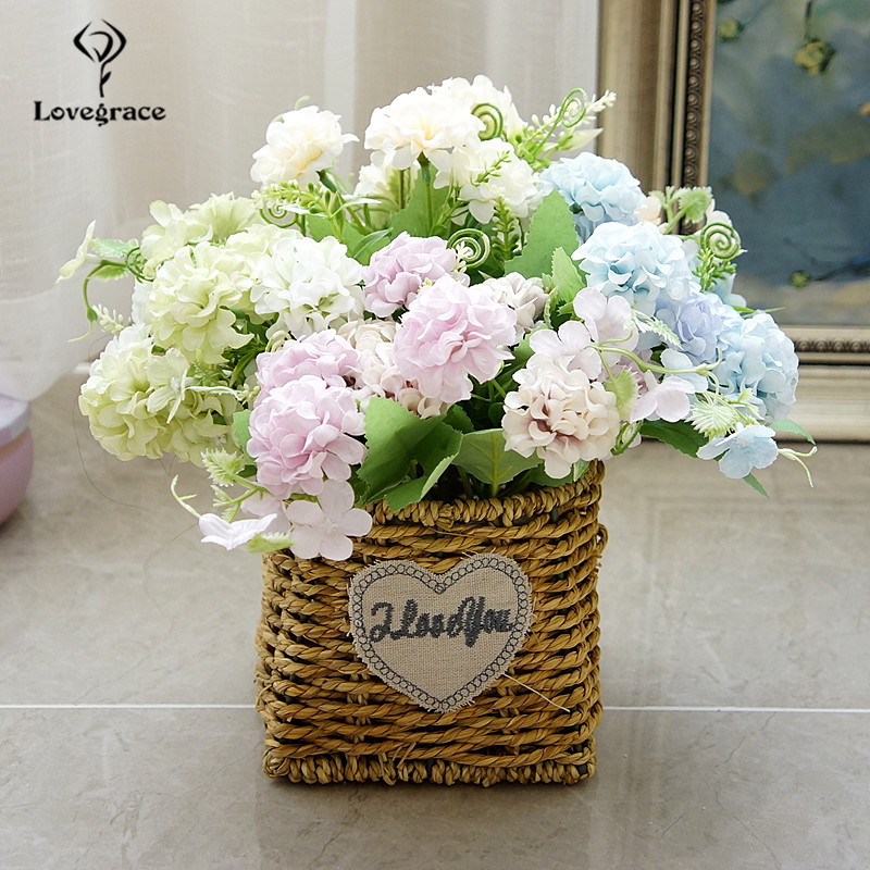 Lovegrace Fake Silk Lucky Ball Artificial Flowers For Wedding Home Small Faux Flowers Craft Party Decoration Artificial Flores