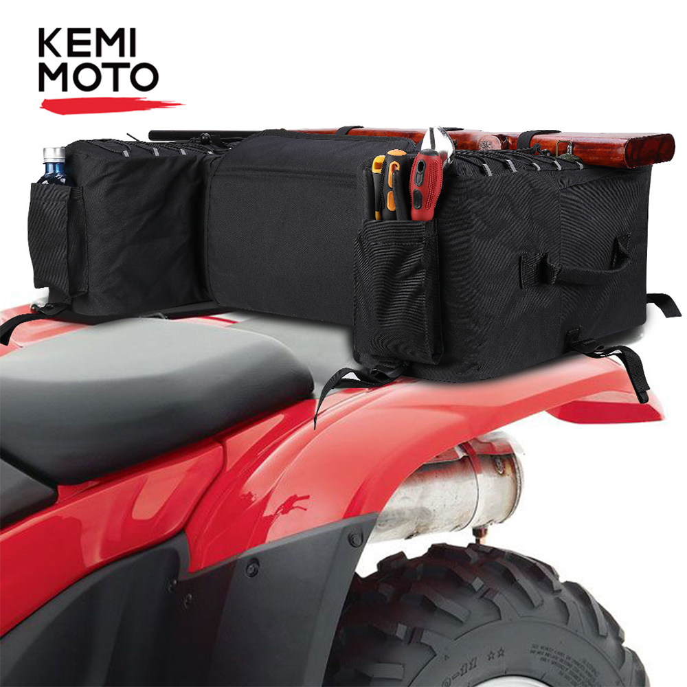 ATV Parts Rear Rack Seat Rest Storage Pack Luggage Bag Cushion Pad Padded Black
