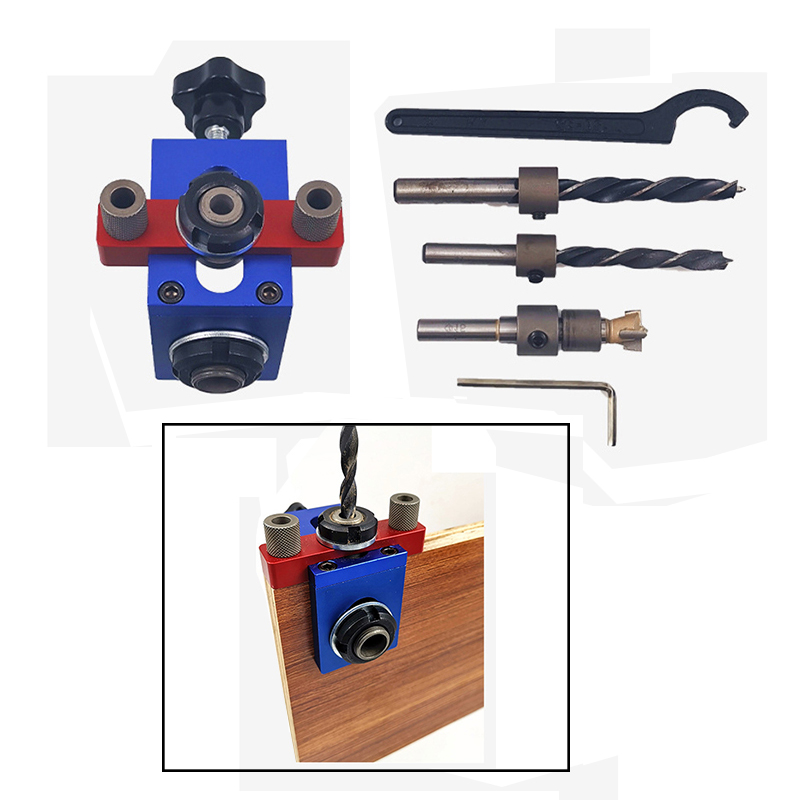 Wood Doweling Jig Pocket Hole Drilling Locator Jig Kit With 6/8/10mm Drill Bit Vertical Drill Guide Hole Puncher Locator Tool