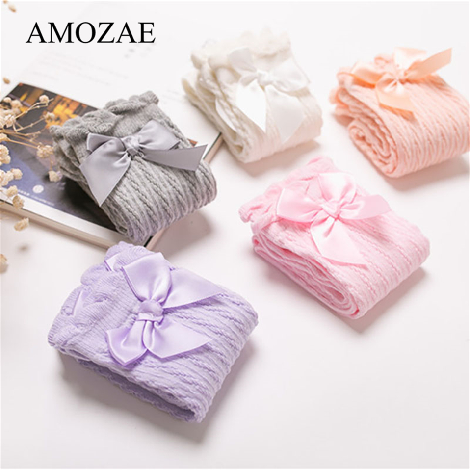 Baby Girl Socks For Newborn Striped With Bow Summer Princess Socks Breather Knee High Kids Mesh Meias Cute Long Booties Sox