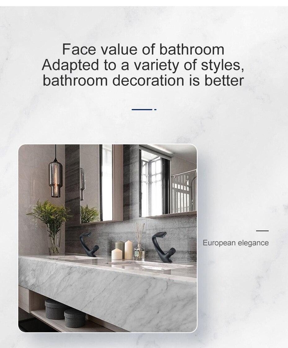 H7527089ff3eb4e02870edfafad1b74c2M Black Faucet Bathroom Sink Faucets Hot Cold Water Mixer Crane Deck Mounted Single Hole Bath Tap Chrome Finished ELM457