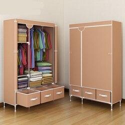 Proste wzmocnienie szafy gruba stalowa rama odważna tkanina schowek na ubrania montaż szafa do tkanin Student szafa Economy w Szafy od Meble na