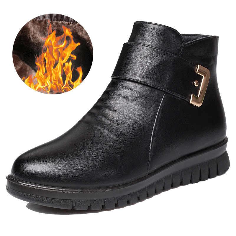 Upuper Đen Nêm Nữ Mùa Đông Giày Chống Trơn Trượt Lông Ấm Áp Mắt Cá Chân Giày Nữ Giá Rẻ Giày Da Cho Mẹ Mùa Đông giày Famale