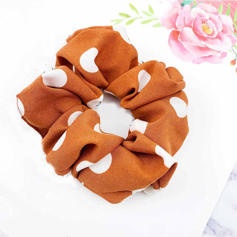 Nowy wzór w kropki Scrunchie damska elastyczna opaska do włosów Vintage słodkie dziewczyny guma do włosów akcesoria gumki do włosów kucyk Holder