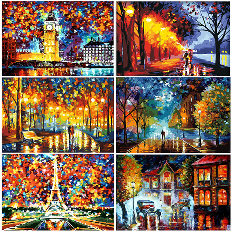 AZQSD Paint By Numbers Canvas Scenery Oil Painting Poster Colorful Posters And Prints Unfinished Craft Home Decoration DIY Hobby