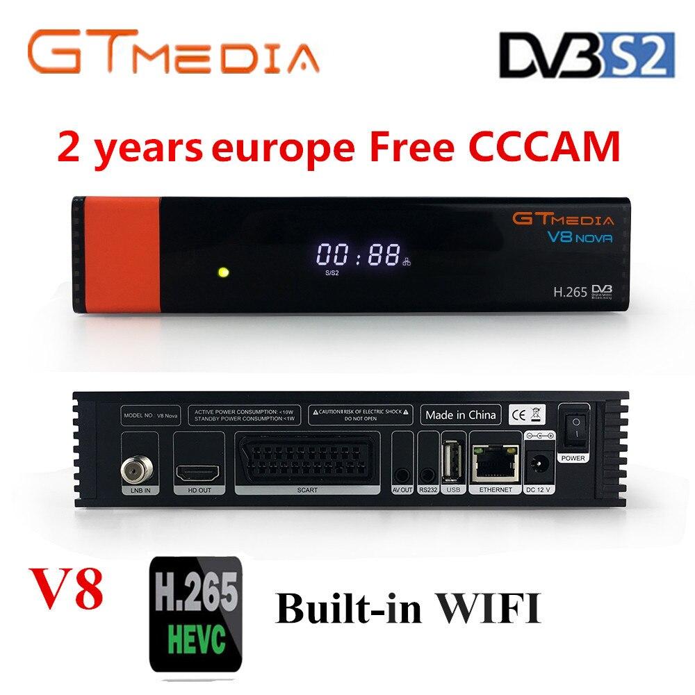 Gt media v8 nova DVB-S2 freesat receptor de satélite v8 super nova versão h.265 wifi + 1 ano europa espanha pt de po cccam tv decodificador