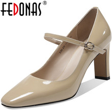 FEDONAS Elegant Buckle Genuine Leather Women Shoes 2020 Spri