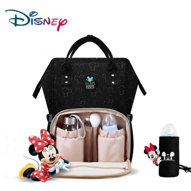 Disney Bolsa de pañales impermeable con calefacción USB, mochila de pañales para mamá pequeña, bolsa de viaje de caricatura Micky, bolsa de pañales de Minnie de gran capacidad
